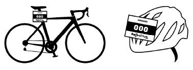 バイクとヘルメットにレースナンバーを貼ってください。